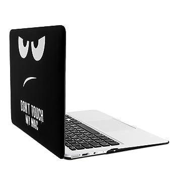 kwmobile Carcasa Dura de Laptop para Apple MacBook Air 13(2011-mediados de 2018) - diseño Dont Touch my Mac Blanco/Negro - Funda Fina de Goma