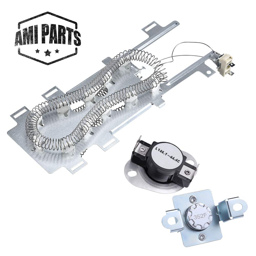 AMI PARTS 8544771 & 279973 Dryer Heating Element With Dryer Thermal Cut-off Fuse Kit Replacement Part Compatible with Kenmore Maytag Whirlpool Dryers