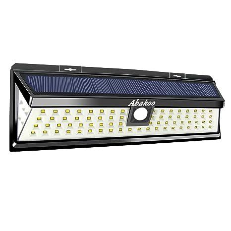 Abakoo - 2 lámparas solares impermeables de 80 luces LED con ángulo amplio de iluminación y