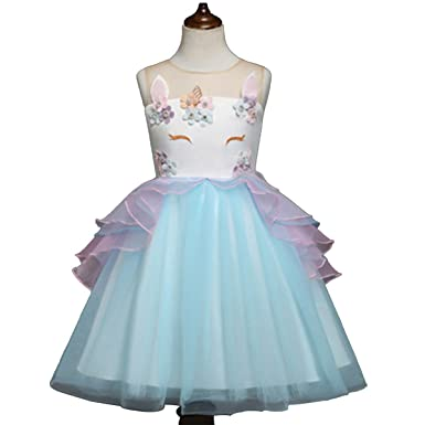 d77232024ac5 Girls Unicorn Costume Cosplay Dress Party Kids Toddler Princess Dress  Sleeveless Tulle Tutu Dress Wedding Birthday Party Pageant Carnival Gown  Performance ...