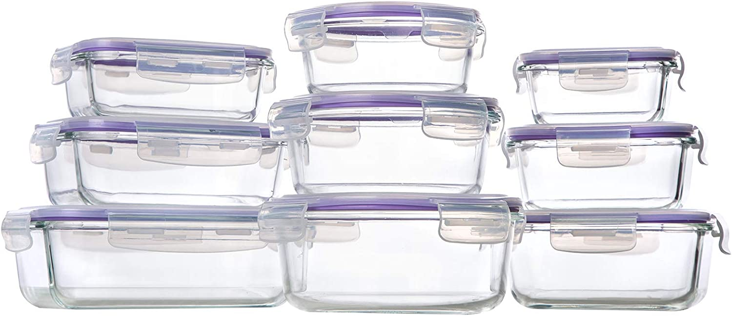 Bayco Glass Storage Containers with Lids, 9 Sets Glass Meal Prep Containers Airtight, Glass Food Storage Containers, Glass Containers for Food Storage with Lids - BPA-Free(Purple)