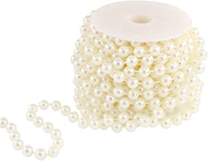 Hilitchi Large Ivory Pearls Faux Crystal Beads by The Roll for Wedding Centerpieces Party Party Garland Wedding Centerpieces Bridal Bouquet Crafts Decoration (10M Length)
