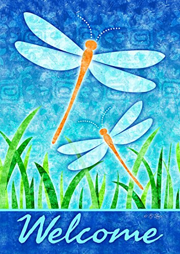 Toland Home Garden 1012097 Dragonflies and Reeds House Flag (28 x 40-Inch), (28