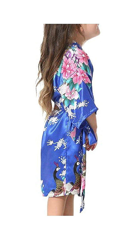 Minetom Niñas Pijama Satén Kimono Robe Bata Albornoces Pavo Flores Cómoda Bonita Larga Camisón Albornoz: Amazon.es: Ropa y accesorios