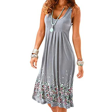 d022c76ec697 Usstore Dress for Women Sleeveless Print Summer Knee-Length Beach Casual  Dresses (Gray