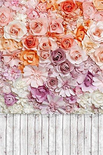 Leowefowa 3X5FT Bridal Shower Backdrop Blooming Fresh Rose Flowers Backdrops for Photography Shabby Stripes Wood Floor Vinyl Photo Background Sweet Baby Shower Girls Lover Portraits Studio Props