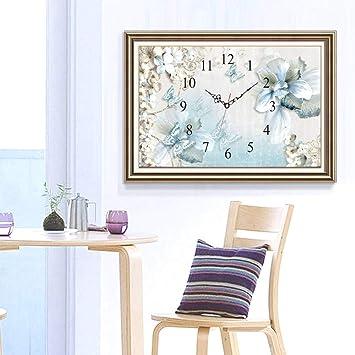 Pfau 48x78cm EXQUILEG 5D Diamant Malerei DIY Kristall Diamant Stickerei Painting Kreuzstich Diamond Dekoration-Uhr
