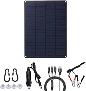 XIAOCHAO Solar Panel Kit 10W 12V Solar Panel Car Battery Charger Portable Solar Battery Maintainer Cigarette Lighter Plug Alligator Clip for Homes RV Car Boat Motorcycle Tractor