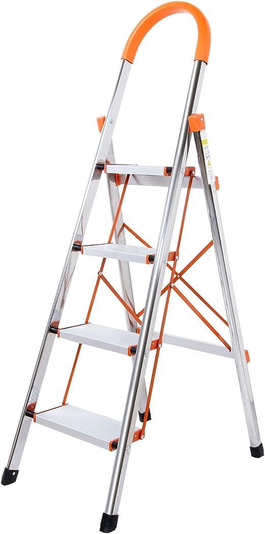 Lifewit Escalera De 4 Pasos Plegable Antideslizante,Acero Inoxidable(Soporta hasta 150 kg): Amazon.es: Hogar