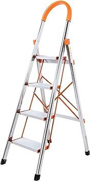 WolfWise Escaleras Plegables Aluminio de 4 Peldaños Portátil ...