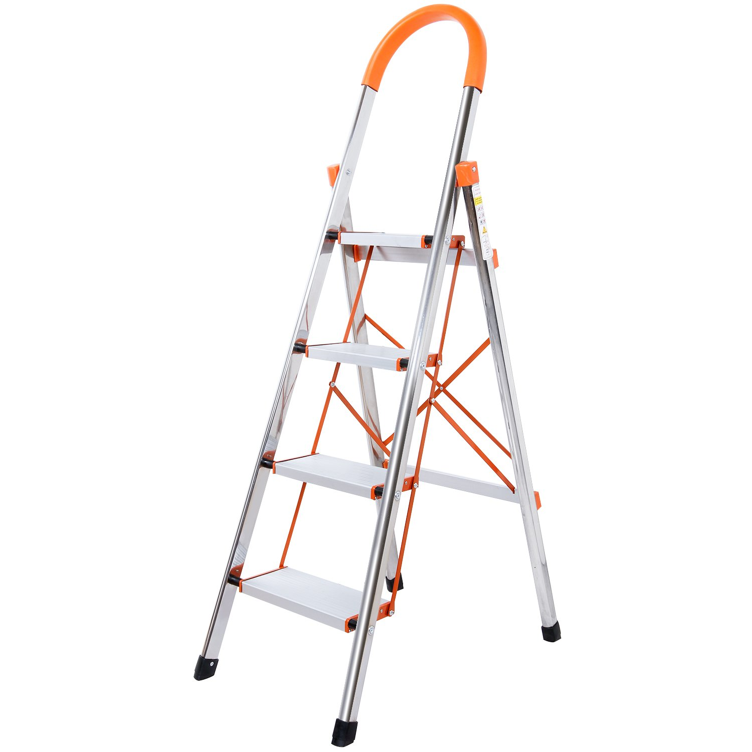 Lifewit 4-Step Stool Ladder Portable Folding Anti-Slip with Rubber Hand Grip 330lbs Capacity,Silver Household Stepladders