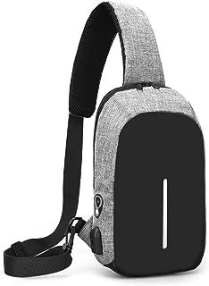 Yeying123 Les Hommes Et Les Femmes Sac À Main en Plein Air Loisir Multi-Fonction Petit Sac avec Port USB De Charge,Gray