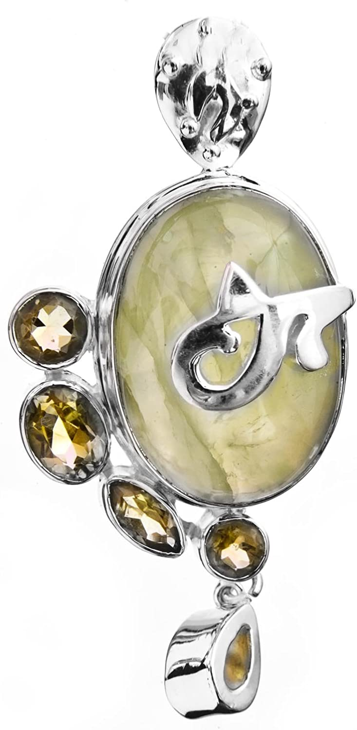 Beautiful Colors and Energies PREHNITE HEART SHAPED Pendant with Faceted Citrine Sterling Silver