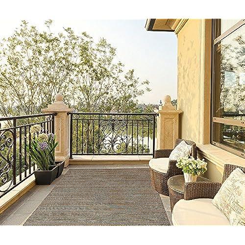 Superbe Gertmenian Barnwell Prime Modern Outdoor Furniture Rug, 5x7 Standard, Raven  Dot Brown