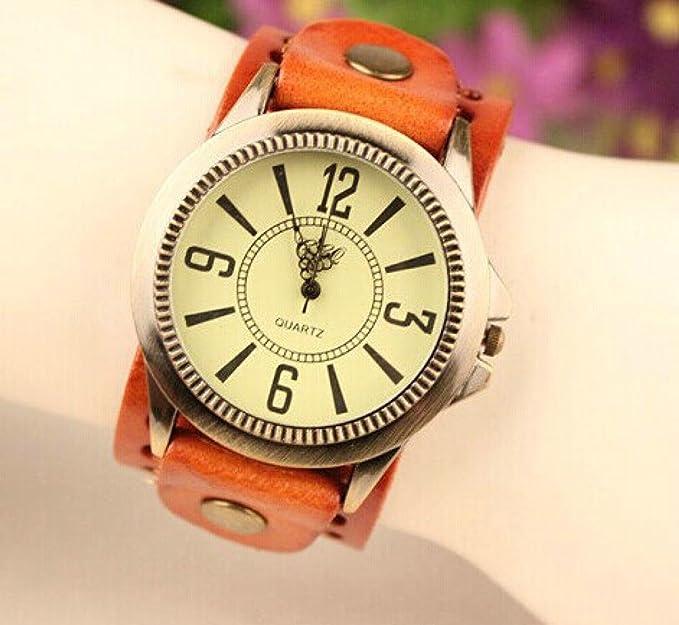 Beauty regalo Fashion reloj de cuarzo de cuero Young Sports horas Mujer Vintage relojes Casual reloj