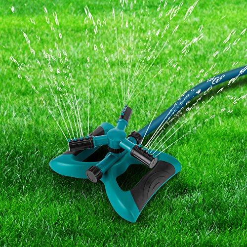 - Lawn Sprinkler, 360° Rotating Adjustable Lawn Sprinkler Irrigation System With Leak Free Design, Easy Hose Connection Garden Irrigation for Lawn, Courtyard, Garden
