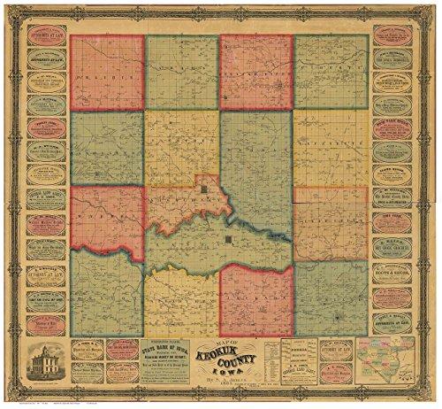 Keokuk County Iowa 1861 Wall Map with Landowner Names Farm Lines Genealogy - Old Map Reprint