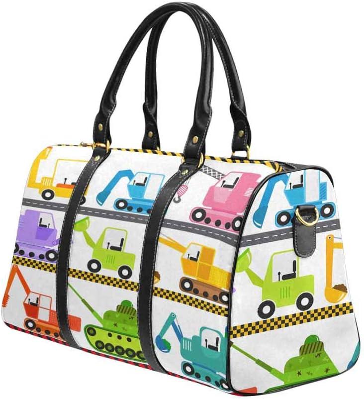 InterestPrint Unisex Duffel Bag Carry-on Bag Overnight Bag Weekender Bag Funny Cartoon Vehicle Caterpillar Truck Tractor