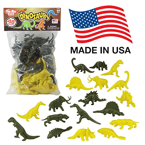 TimMee Plastic DINOSAUR Figures - Green & Yellow 48pc Dino Set MADE IN - Mammoth Scales Tooth