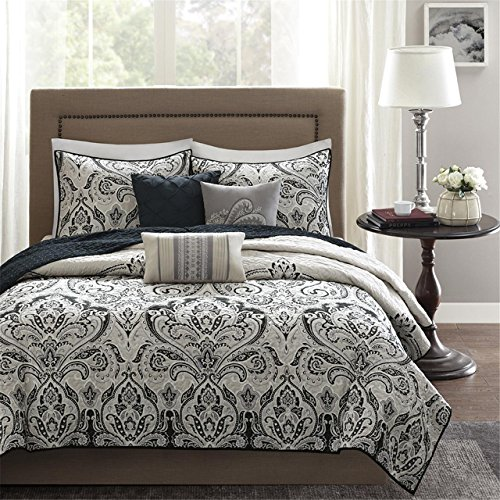 Madison Park Geneva Full/Queen Size Quilt Bedding Set - Black, Ivory, Damask – 6 Piece Bedding Quilt Coverlets – Ultra Soft Microfiber Bed Quilts Quilted Coverlet