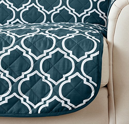 Home Fashion Designs Adalyn Collection Deluxe Reversible Quilted Furniture Protector. Beautiful Print on One Side/Solid Color on the Other for Two Fresh Looks. By Brand. (Sofa/Couch, Indian Teal)