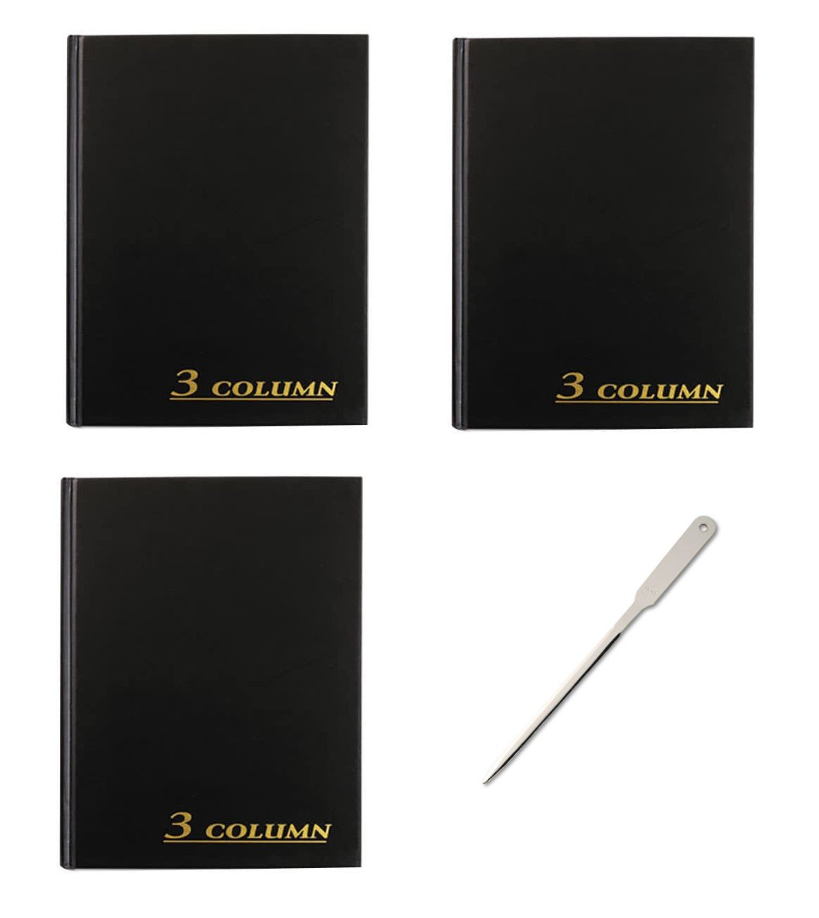 Adams Account Book, 7 x 9.25 inches, Black, 3-Columns, 80 Pages, 3 Books (ARB8003M) - Bundle Includes a Letter Opener