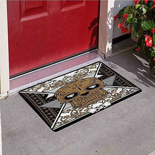 Jinguizi Tattoo Commercial Grade Entrance mat Skull with Diamond Eyes and Floral Theme Vine Art Tattoo Renaissance Inspired for entrances garages patios W29.5 x L39.4 Inch Brown and Black