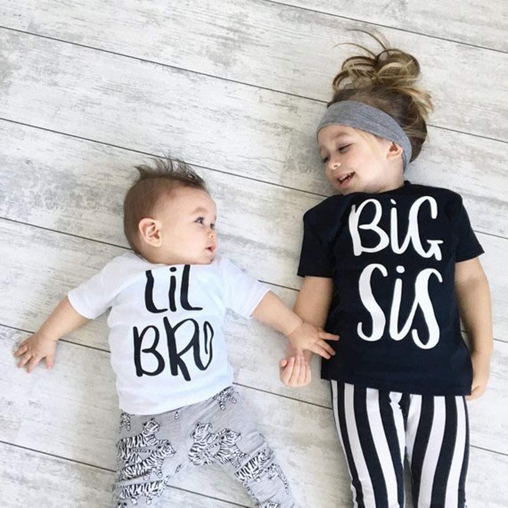 Tee Tops Toddler Big Sister Shirt Little bro Shirt Sister Brother Family Matching Announcement Shirt