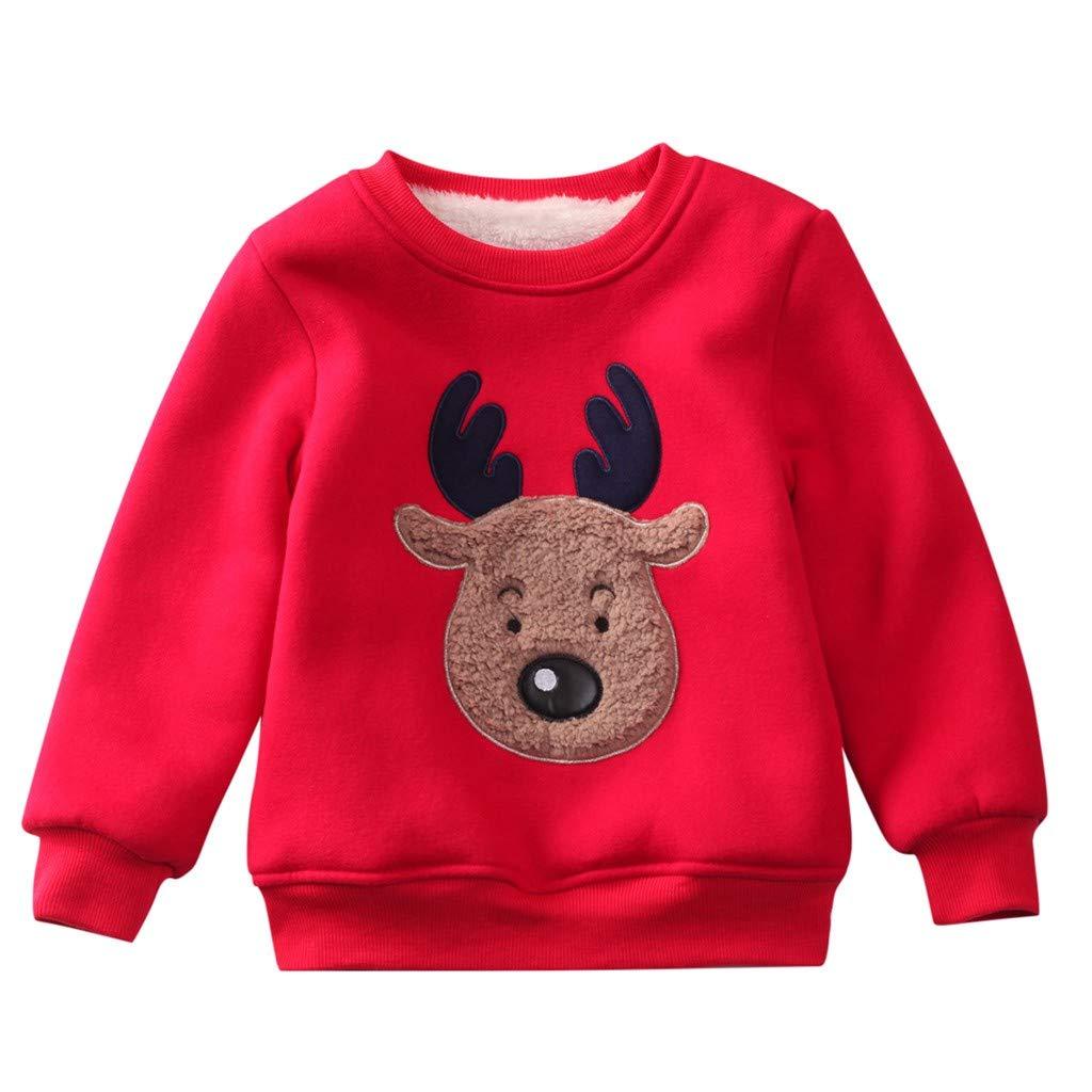 Voberry Newborn Infant Baby Boys Girls Casual Long Sleeve Christmas Xmas Elk Printed Sweatshirt Tops Red by Voberry@123