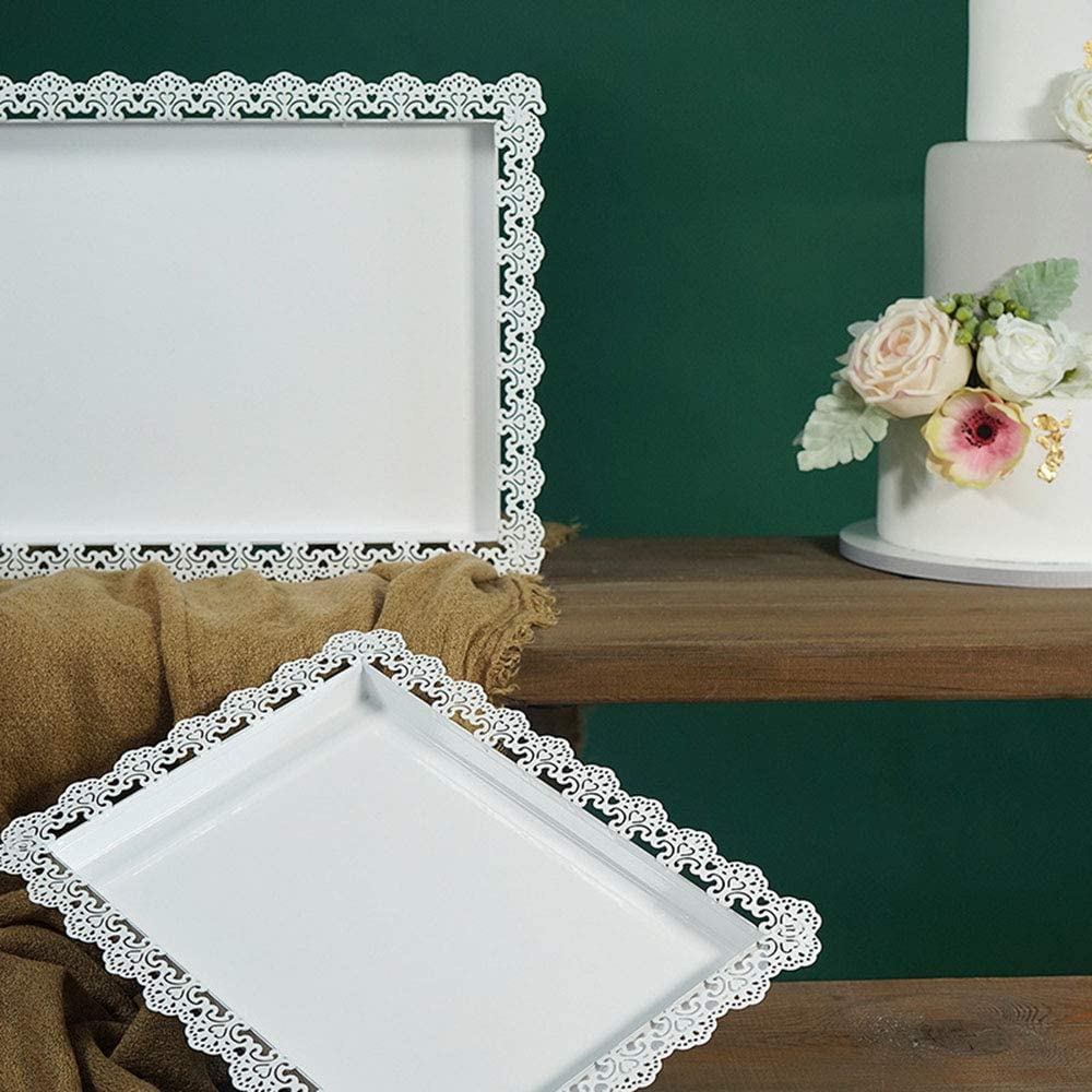 Soporte de postres blanco para bodas de metal, bandeja de pastel de metal rectangular vintage, soporte de joyería de encaje de hierro forjado para el banquete de bodas Reunión familiar Inicio,M: Amazon.es: