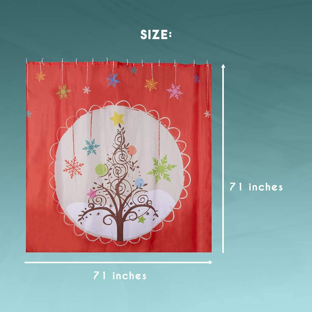 71 Inches Light Tan Juvale Christmas Shower Curtain with Hooks Gingerbread House Design Large Decorative Bathroom Accessory Polyester Fabric Mildew Resistant Holiday Themed Shower Curtain
