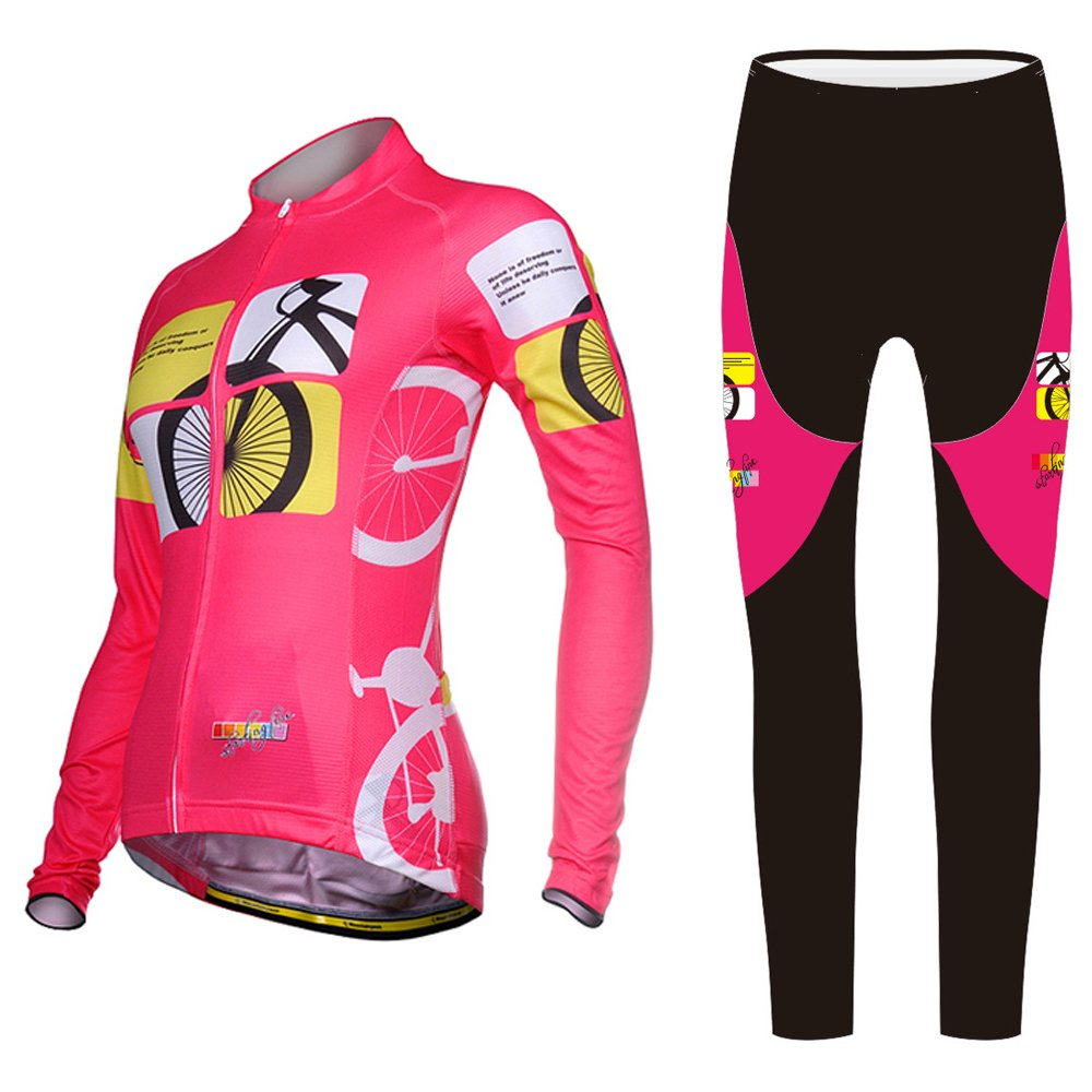 Uriah Women 's Cycling Jersey Long Sleeve and 3dジェルパッド入りパンツセット B01MPX0TPD 5XL(CN)|Racing Pink Racing Pink 5XL(CN)