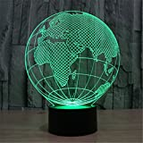 Christmas Valentine Wedding And Birthday Gifts 3D Table Touch Lamp 7 Colorful Color Changing Night Light for Children and Kids Globe2