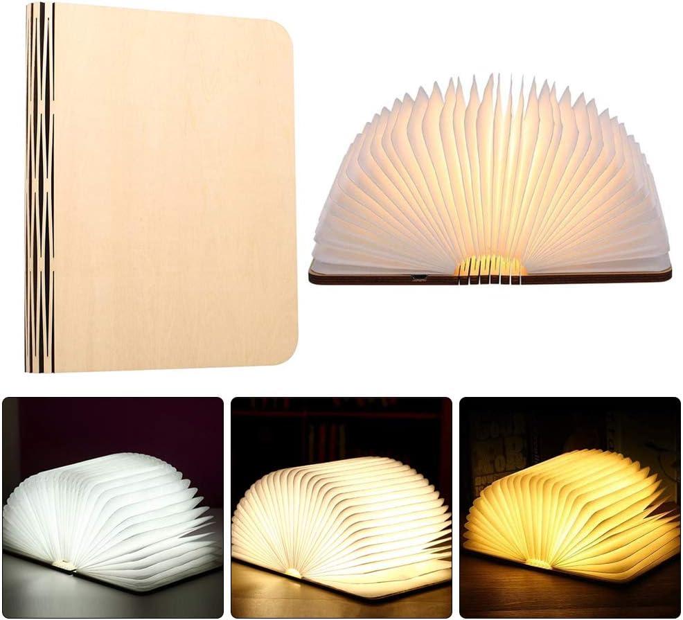 Ideal f/ür Geschenk. hell genug f/ür das Ablesen 3 Farbmodi Buchlampe Mini Faltende Buch-Lampe Magnetisches LED-Licht mit Akku 500 Milliamperestunden Gobesty H/ölzerne faltende Buch-Lampe