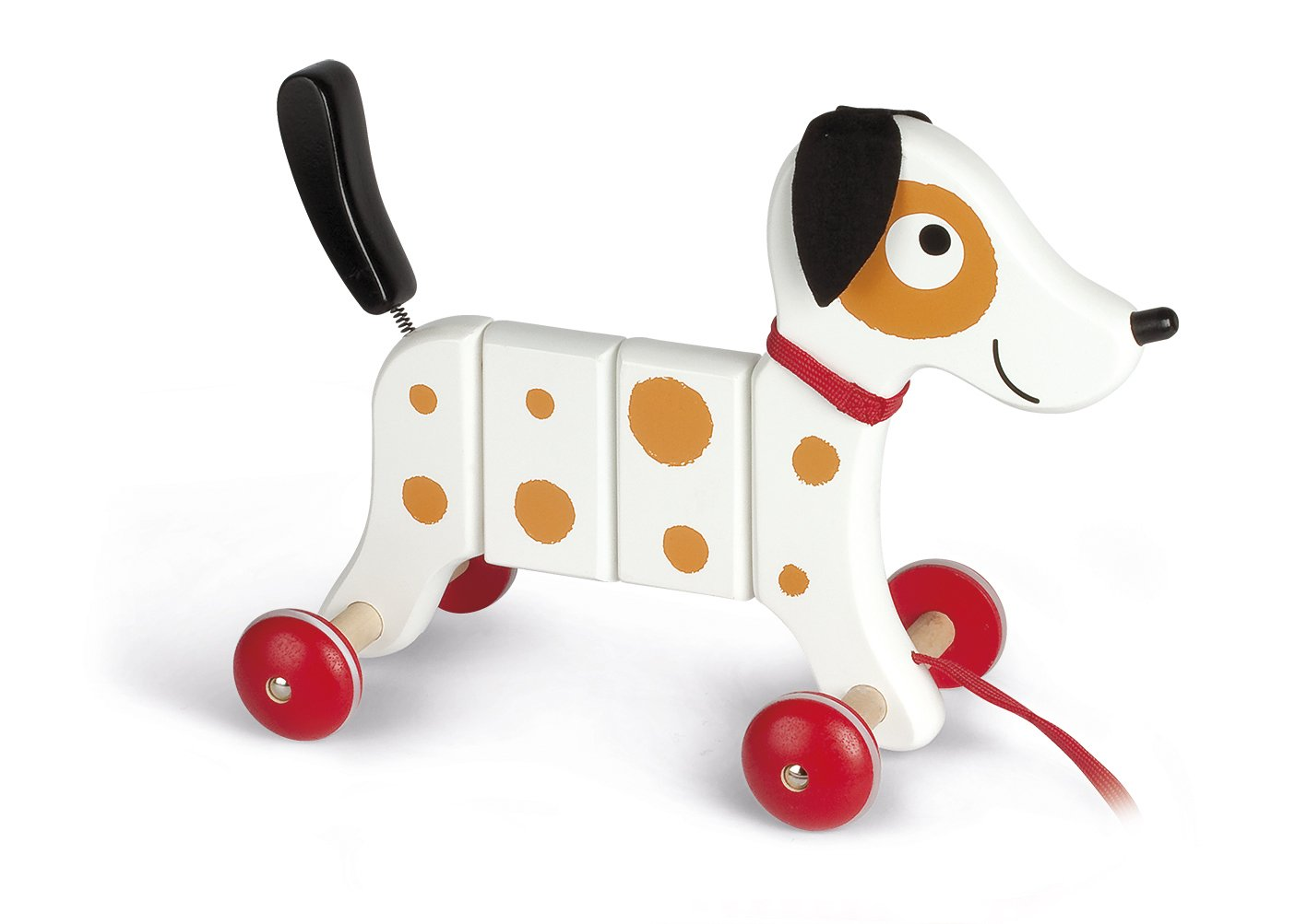 Janod Crazy Rocky Dog Pull Along Early Learning and Motor Skills Toy Made of Cherry Wood for Ages 12 Months+