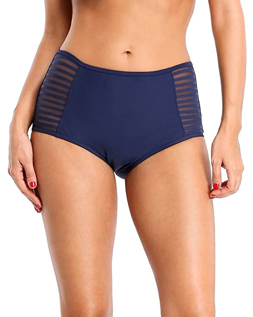 0ef41273d48b5 Alove womens stripe shorts swimwear mesn high waist bathing suit bottom  size S: Amazon.co.uk: Clothing