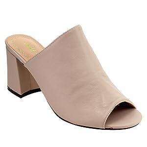Chase & Chloe EF70 Women's Slide Mid Block Heel Dress Sandals, Color:NUDE, Size:7.5