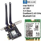 Intel インテル AX200 NGW 802.11ax (2,400Mbps) Wi-Fi 6 MU-MIMO & Bluetooth5 (PCI-Express 組込済 アンテナ セット)