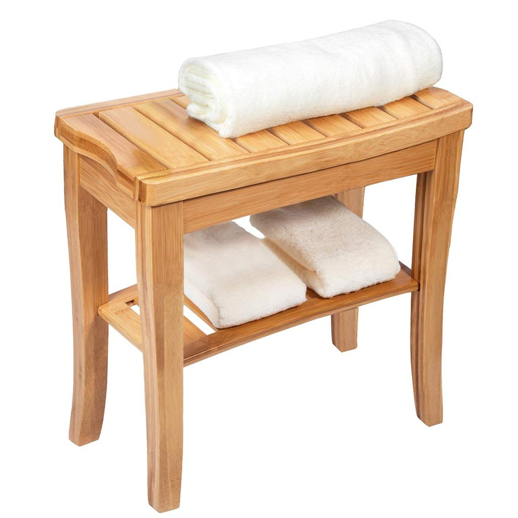 US Fast Shipment - Gallity Bamboo Shower Bench, Towel Shelf Bathroom Seat,Sturdy Shower Spa Chair with Storage Shelf, Wood Spa Bath Organizer Seat Stool, Perfect for Indoor or Outdoor by Gallity Ladder