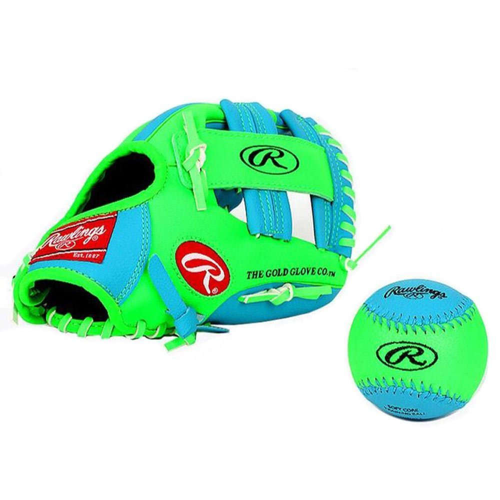 Rawlings Baseball Gloves & Mitts for kids (blue+green, 10.5 inch) by Rawlings