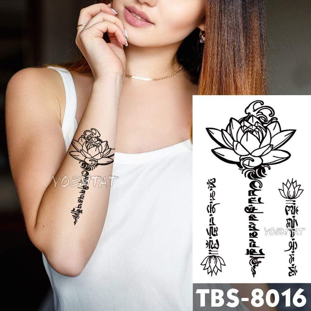 tzxdbh 12x19 cm Impermeable Tatuajes Temporales de Encaje de Loto ...