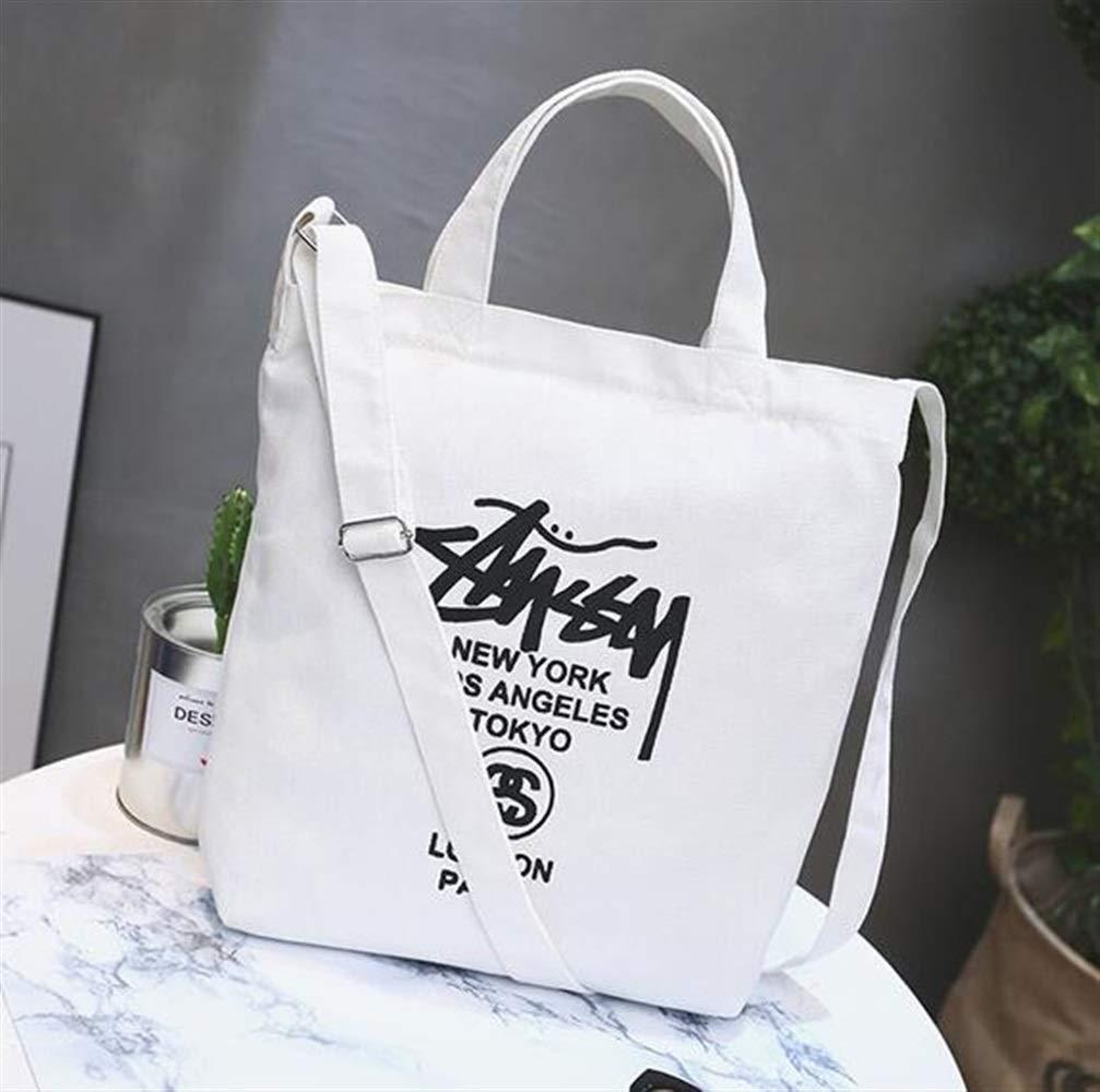 WHXYAA White Printed Canvas Bag Shoulder Bag Tote Bag Simple-Designed Ladies Large-Capacity Shopping Bag Simple Atmosphere