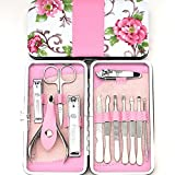 Koojoee Pink Manicure Pedicure Tools Set,12 in 1 tainless Steel Professional Scissors Nail Clipper Travel & Grooming Kit With Leather Case (Pink-1)