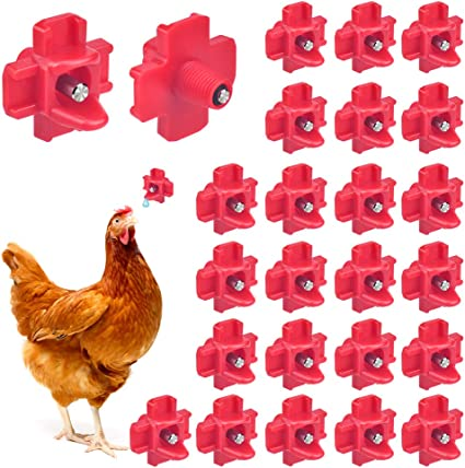 20 Pack Horizontal Chicken Nipples Waterer Automatic Poultry Side Mount Drinkers