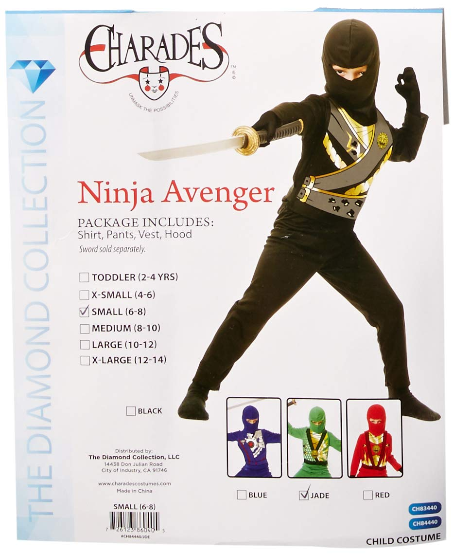 Charades Childs Ninja Avenger Series 4 Costume, Jade Green, Small