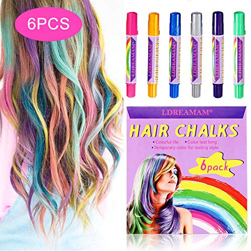 Price comparison product image Hair Chalk,  6 Colors Hair Chalk Pens, Chalk Hair Dye, Colored Hair Chalks for Party,  Cosplay,  Theater,  Halloween Makeup