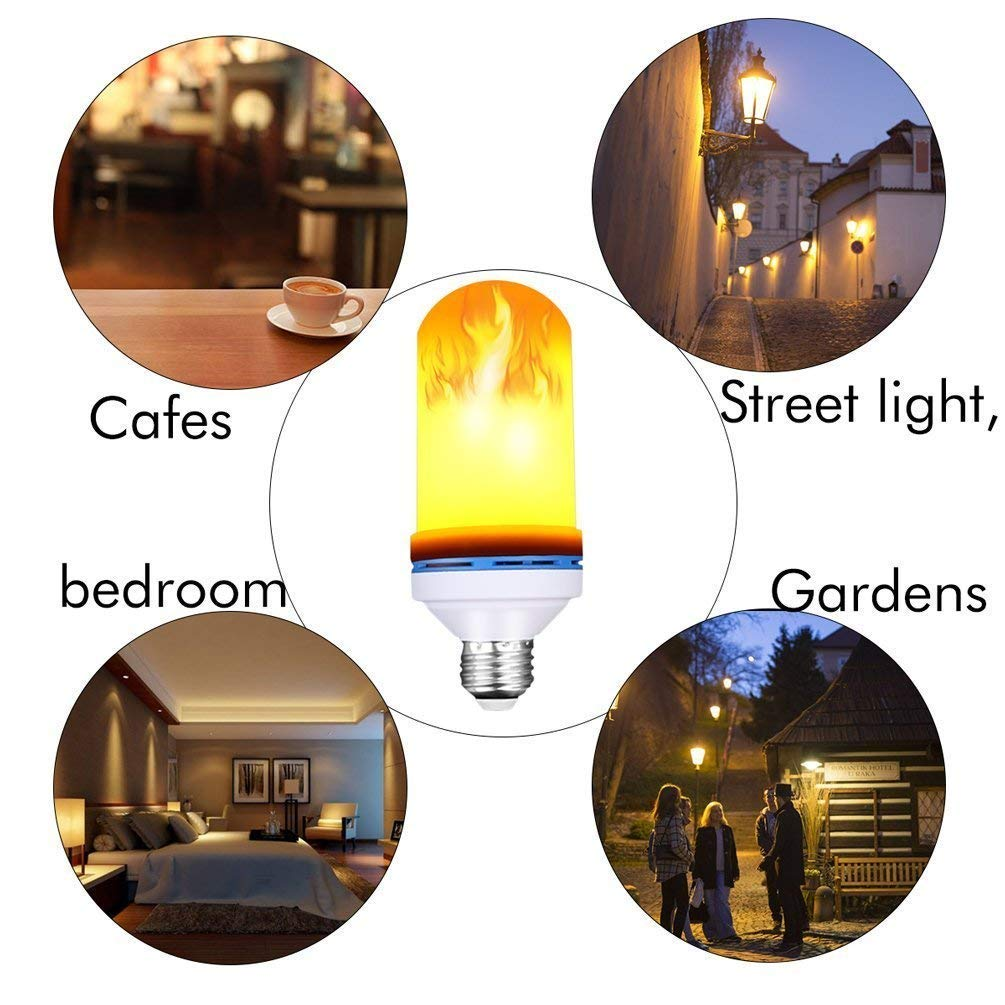 4 Modes with Upside Down Effect MAXZONE E26 Base LED Bulb Flame Bulb for Halloween Home//Hotel//Bar Party Decoration 2 Pack LED Flame Effect Light Bulb