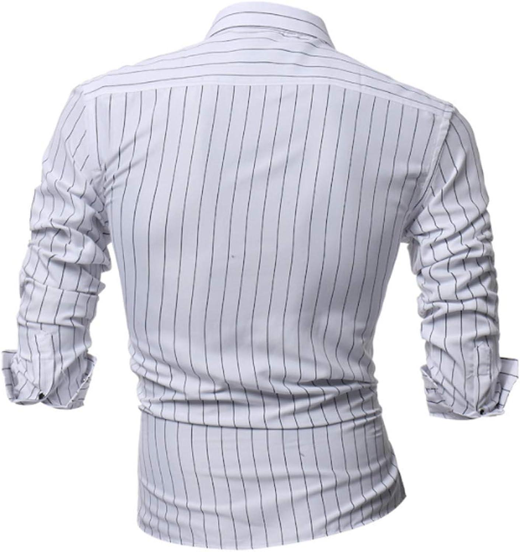 Jomuhoy Men Vertical Stripes Shirt Long Sleeve Solid Button Down Shirts