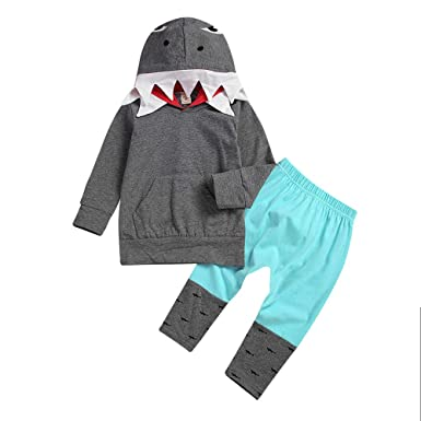 a2e0d8cbe Oldeagle Kids Set, Toddler Kid Baby Girl Boy 3D Cartoon Hoodie Shark Tops  with Pocket