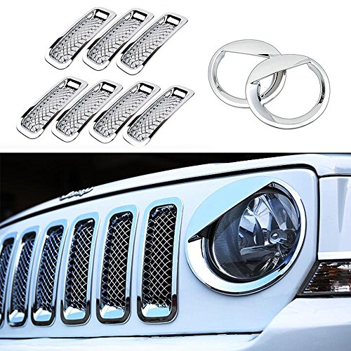 AVOMAR Front Grille Grill Mesh Grille Insert Kit + Angry Bird Style Headlight Lamp Cover Trim For Jeep Patriot 2011-2016 (Silver Front Grill Mesh Insert + Angry Bird Headlight Cover-2)